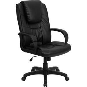 Gallery - High Back Black LeatherSoft Executive Swivel Office Chair with Oversized Headrest and Arms