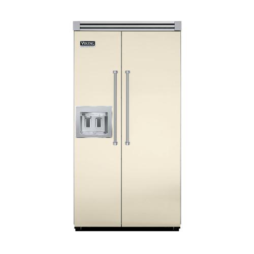 """Viking - Biscuit 42"""" Quiet Cool™ Side-by-Side with Dispenser - VISB Tru-Flush™ (42"""" wide)"""