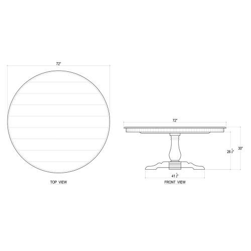 Trestle Round Dining Table 72''