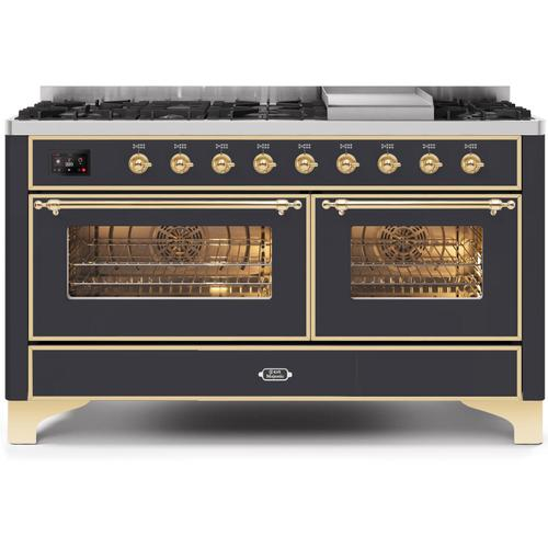 Ilve - Majestic II 60 Inch Dual Fuel Natural Gas Freestanding Range in Matte Graphite with Brass Trim