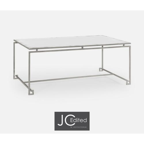 Silver Iron Rectangular Coffee Table with An Antique Glass Top