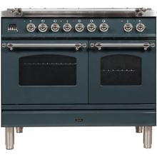 Nostalgie 40 Inch Dual Fuel Liquid Propane Freestanding Range in Blue Grey with Chrome Trim