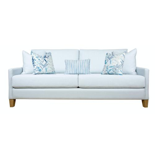 """Capris Furniture - 2 encased back pillows over 2 Convo-Lux seat cushion King Sofa w/ 5-1/2"""" Pyramid legs available in Caramel, Black Cherry, Frost, Driftwood or Walnut finish."""