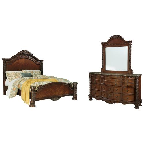 Ashley - California King Panel Bed With Mirrored Dresser