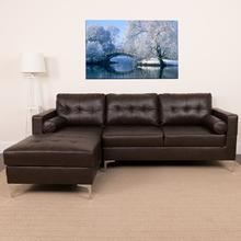 Riverside Upholstered Tufted Back Sectional with Left Side Facing Chaise and Bolster Pillows in Brown LeatherSoft