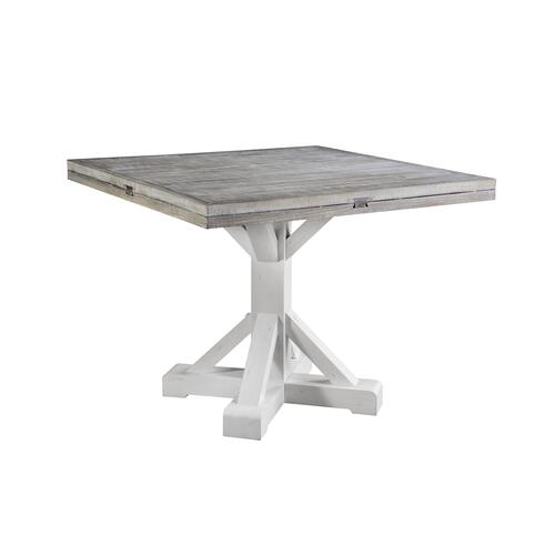 Centerville Round Dropleaf Gathering Height Dining Table, Acorn Gray & Antique White D727-13-09