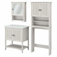 See Details - 32W Bathroom Vanity Sink with Mirror and Over Toilet Storage Cabinet, Linen White Oak