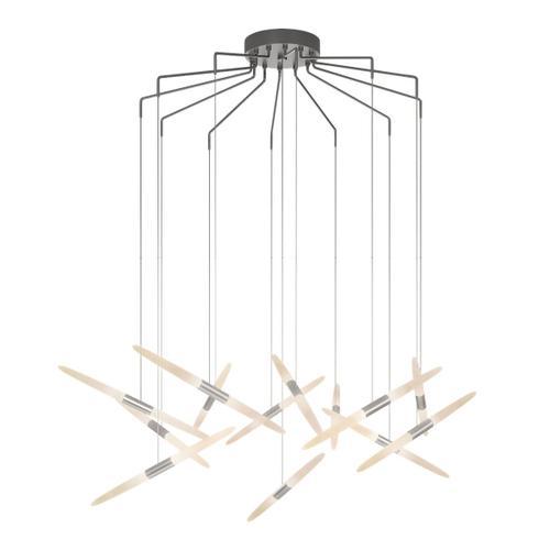 Sonneman - A Way of Light - Ballet LED Pendant [Size=13-Light, Color/Finish=Bright Satin Aluminum, Shape=Spreader]