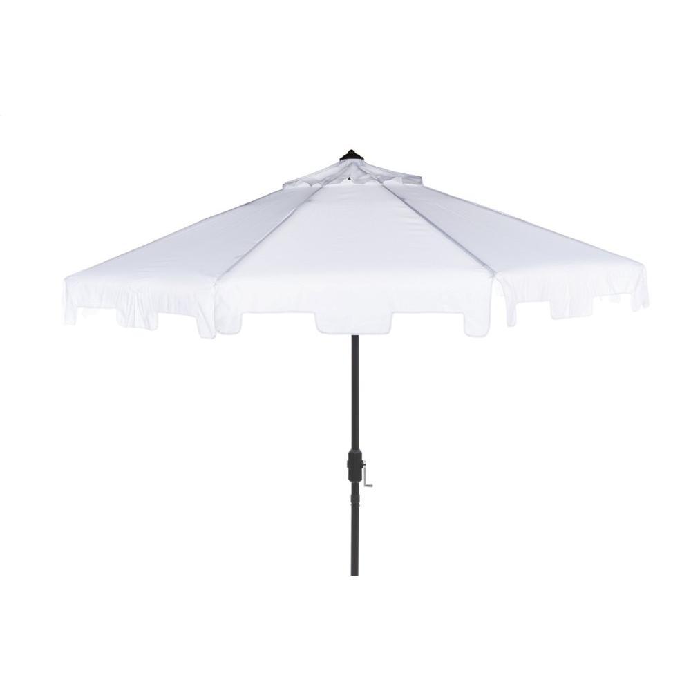 Uv Resistant Zimmerman 9 Ft Crank Market Push Button Tilt Umbrella With Flap - White