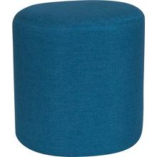 See Details - Barrington Upholstered Round Ottoman Pouf in Blue Fabric