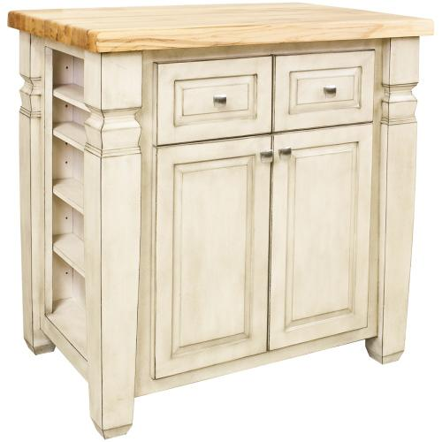 """34"""" x 22"""" x 34-1/4"""" Furniture style kitchen island with French White finish."""