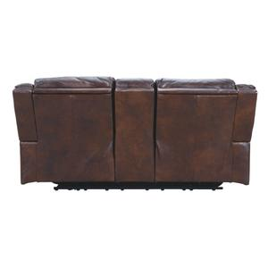 Power Leather Reclining Console Loveseat with Adjustable Headrest