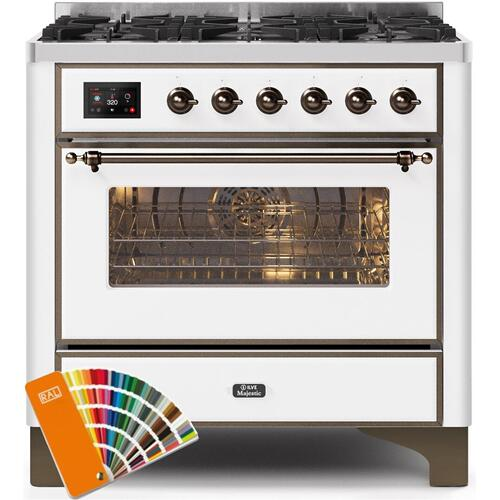 Majestic II 36 Inch Dual Fuel Natural Gas Freestanding Range in Custom RAL Color with Bronze Trim