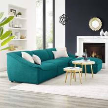 Comprise 4-Piece Living Room Set in Teal