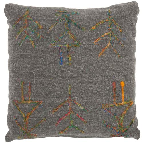 """Life Styles Gt649 Charcoal 18"""" X 18"""" Throw Pillow"""