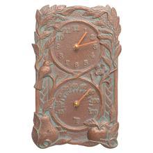 See Details - Fruit Bird Indoor Outdoor Wall Clock & Thermometer - Copper Vedigris