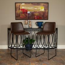 Product Image - 30 inch LeatherSoft Bar Height Barstools in Dark Brown, Set of 2