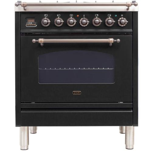 Nostalgie 30 Inch Dual Fuel Liquid Propane Freestanding Range in Matte Graphite with Bronze Trim