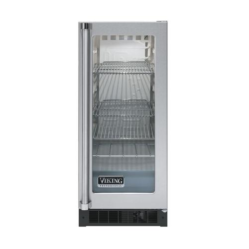"""Viking - Stainless Steel 15"""" Glass Door Beverage Centers - VUAR (White Interior, Clear Glass, Right Hinge)"""