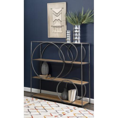 3-shelf Circle Bookcase, Grey and Natural