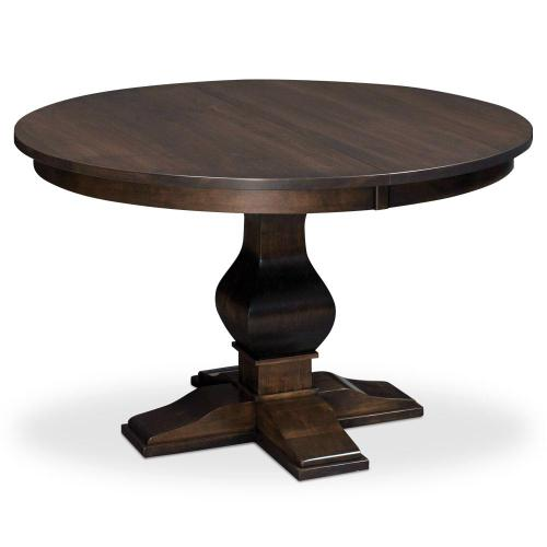 """Simply Amish - Crawford Single Pedestal Table, 60"""" Round (Max 2 Leaves) / 18"""" Sliding Butterfly Leaf"""