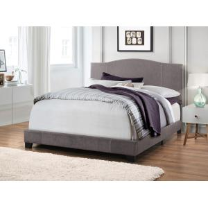 King All-In-One Modified Camel Back Upholstered Bed in Denim Cement