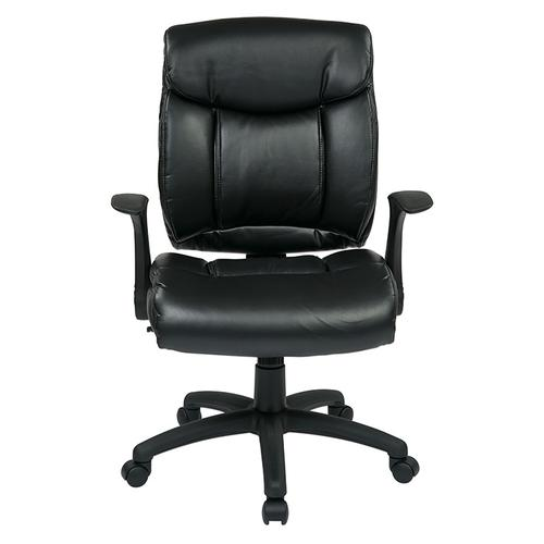 Office Star - Faux Leather Managers Chair With Flip Arms