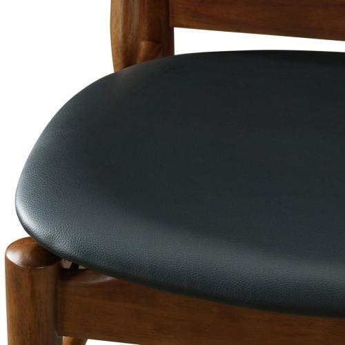 Wembley KD PU Dining Side Chair Dark Walnut Frame, Black