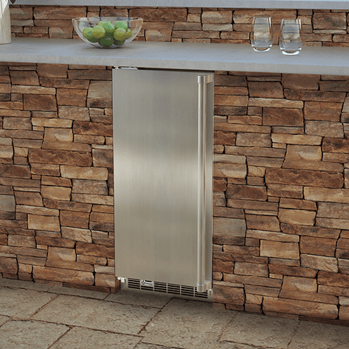 Marvel - 15-In Outdoor Built-In Clear Ice Machine For Gravity Drain Applications with Door Style - Stainless Steel