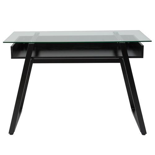 Flash Furniture - Huntley Glass Computer Desk with Shelf and Black Metal Legs