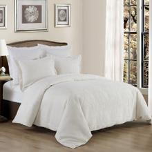 3 PC Matelassé Coverlet Set, White - Super King