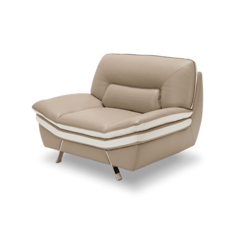 Carlin Leather Match Chair in Mocha w/Stainless Steel Legs