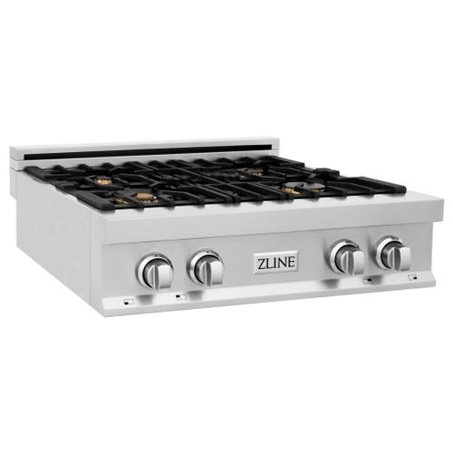 """ZLINE 30"""" Porcelain Range top with 4 Gas Burners With Burner Options [Color: Stainless Steel]"""