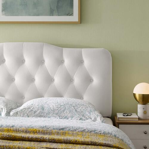 Annabel Queen Diamond Tufted Performance Velvet Headboard in White