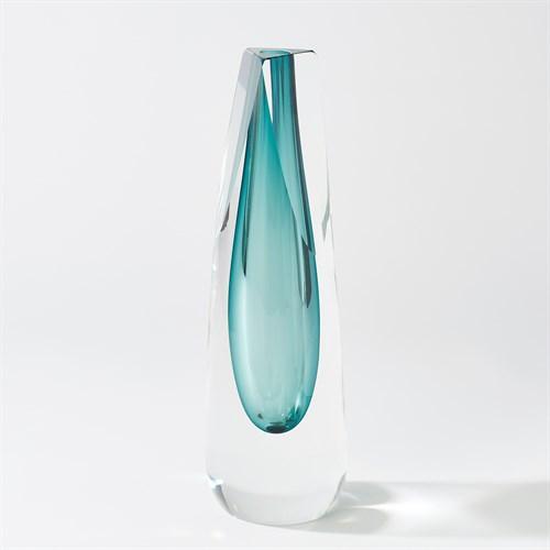 Triangle Cut Glass Vase-Azure