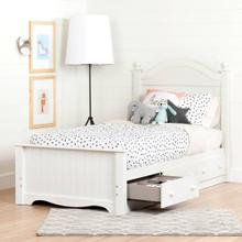 Complete Storage Bed with Headboard and 3 Drawers - Pure White