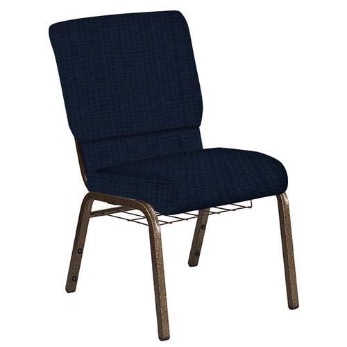 Flash Furniture - 18.5''W Church Chair in Highlands Navy Fabric with Book Rack - Gold Vein Frame