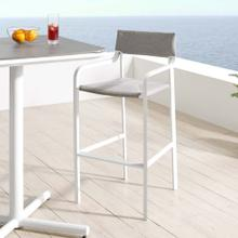 Raleigh Stackable Outdoor Patio Aluminum Bar Stool in White Gray