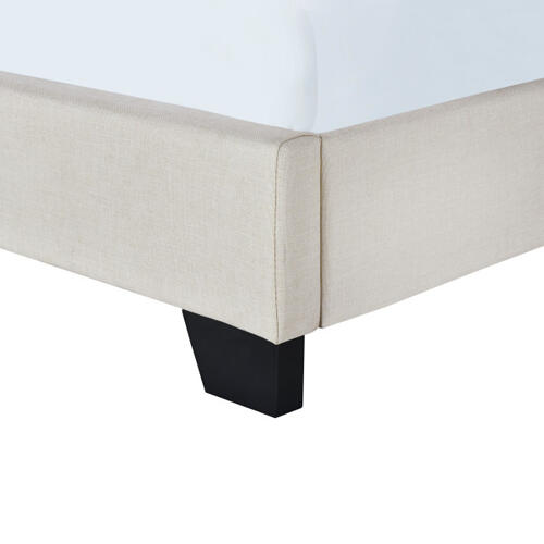 Button Tufted Twin Upholstered Bed in Light Gray