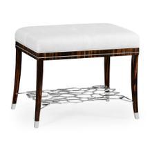 Macassar Ebony Stool with White Brass Detail, Upholstered in COM