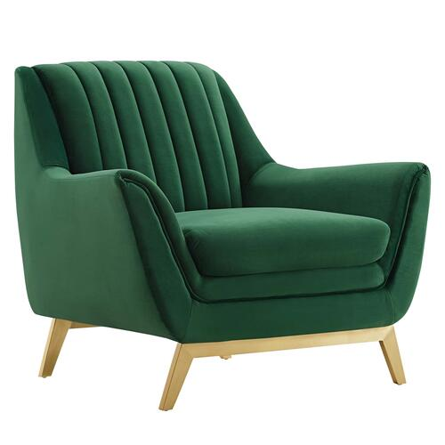 Winsome Channel Tufted Performance Velvet Armchair in Emerald