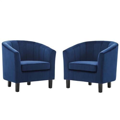Prospect Channel Tufted Performance Velvet Armchair Set of 2 in Navy