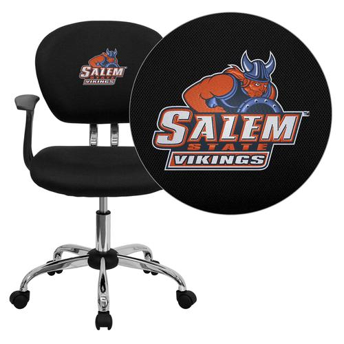 Salem State University Vikings Embroidered Black Mesh Task Chair with Arms and Chrome Base
