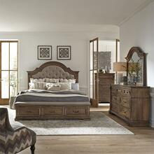 King Opt Storage Bed, Dresser & Mirror, Chest
