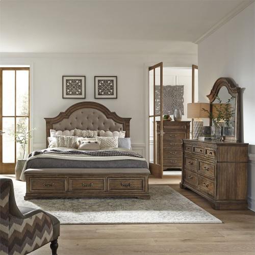 King Opt Storage Bed, Dresser & Mirror, Chest