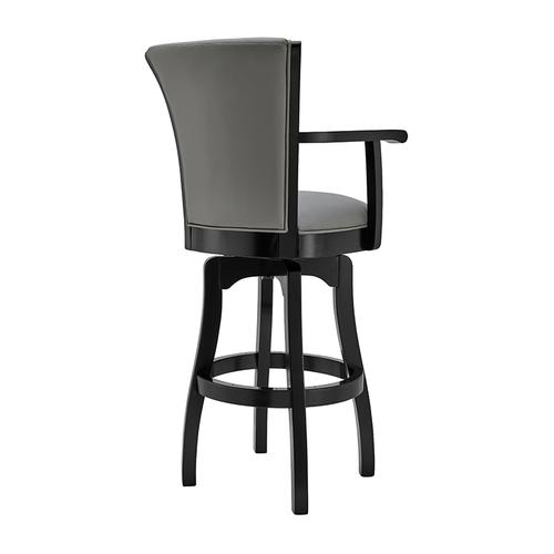 """Armen Living - Raleigh Arm 30"""" Bar Height Swivel Barstool in Black Finish and Gray Faux Leather"""