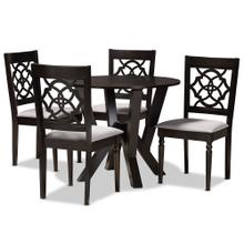 See Details - Baxton Studio Alma Modern and Contemporary Grey Fabric Upholstered and Dark Brown Finished Wood 5-Piece Dining Set
