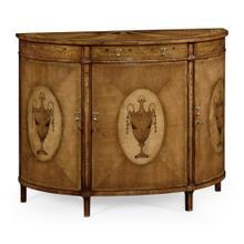 Adam Style Satinwood & Marquetry Demilune Cabinet