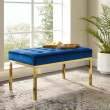 Loft Gold Stainless Steel Leg Medium Performance Velvet Bench in Gold Navy