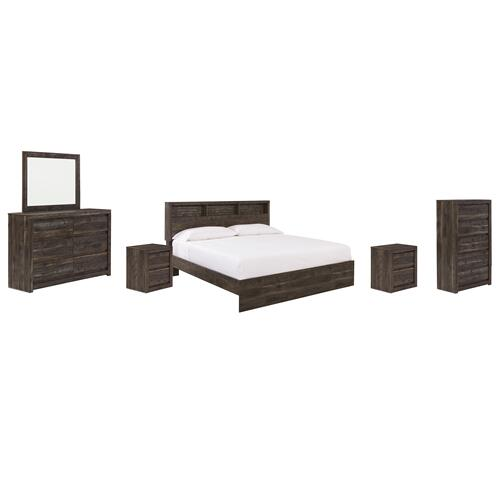 Ashley - King Bookcase Panel Bed With Mirrored Dresser, Chest and 2 Nightstands